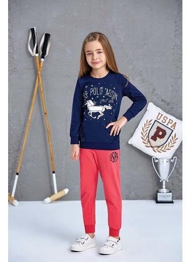 U.S. Polo Assn. Us Polo Assn Lisanslı Kız Çocuk Pijama Takımı Pembe Lacivert